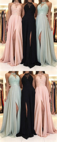 98734c3c5f8c Charming Lace Top Halter Sleeveless chiffon Split Long Black, Mint Bridesmaid  Dress, BD0481