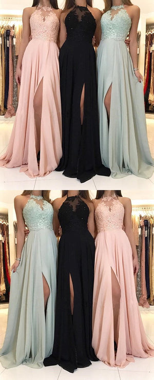 Charming Lace Top Halter Sleeveless chiffon Split Long Black, Mint Bridesmaid Dress, BD0481