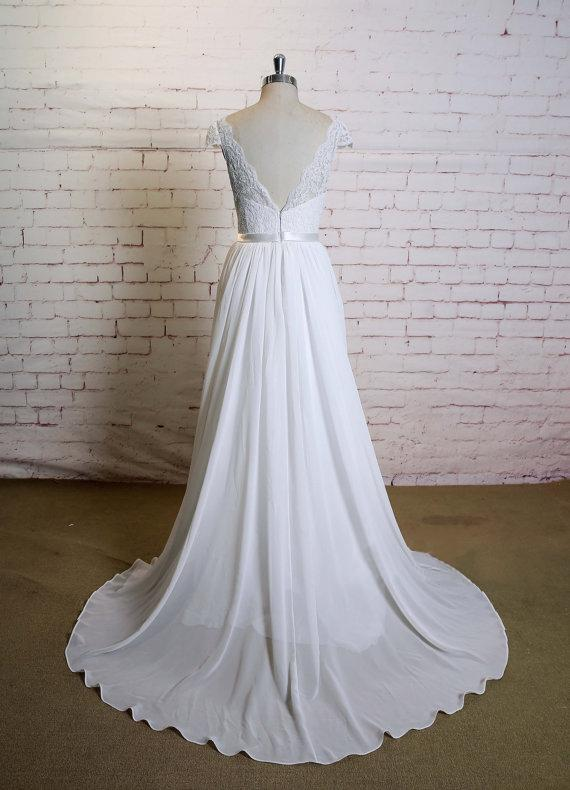 Elegant A-line Floor-length V-neck Cap sleeve lace top simple Wedding Dresses, WD0363
