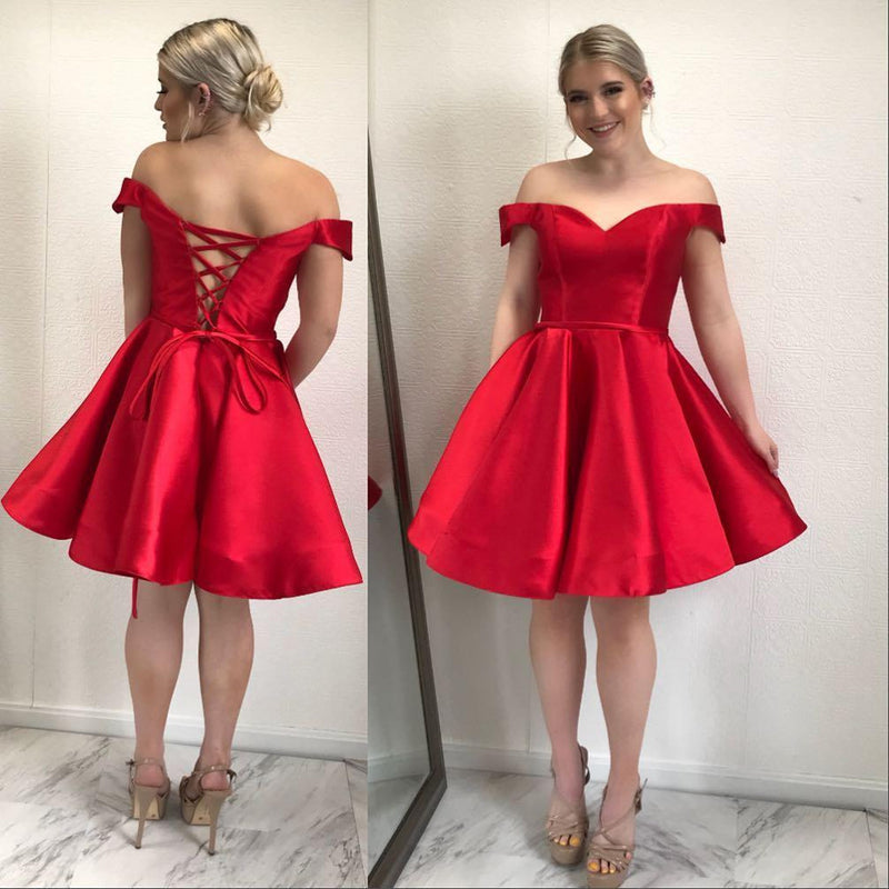 Simple A-line Off-shoulder Red Lace up Back Cheap Homecoming dresses, HD0386