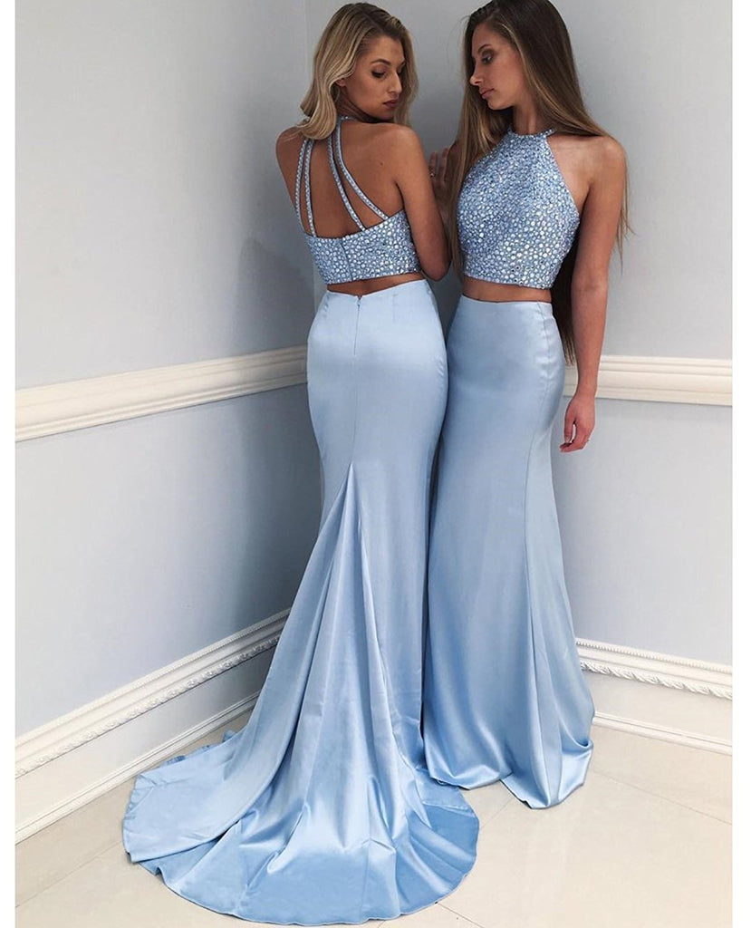 Amazing Two-Piece Mermaid Round Neck Blue evening Dress with Beading long prom dresses , PD0525