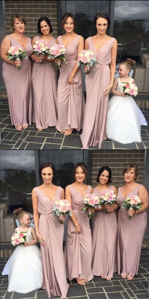 A-line Floor-lengthSimple Modest V-neck Cheap Dusty Pink Bridesmaid Dress, BD0478