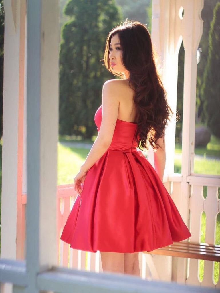 Sweetheart Simple Pleated Red Sleeveless Party Dresses, Short Homecoming dresses, HD0388