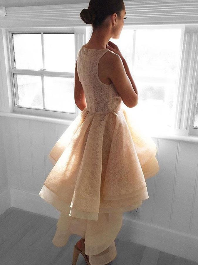 Modest Sleeveless Short Front Long Back Lace Organza Homecoming dresses, HD0389