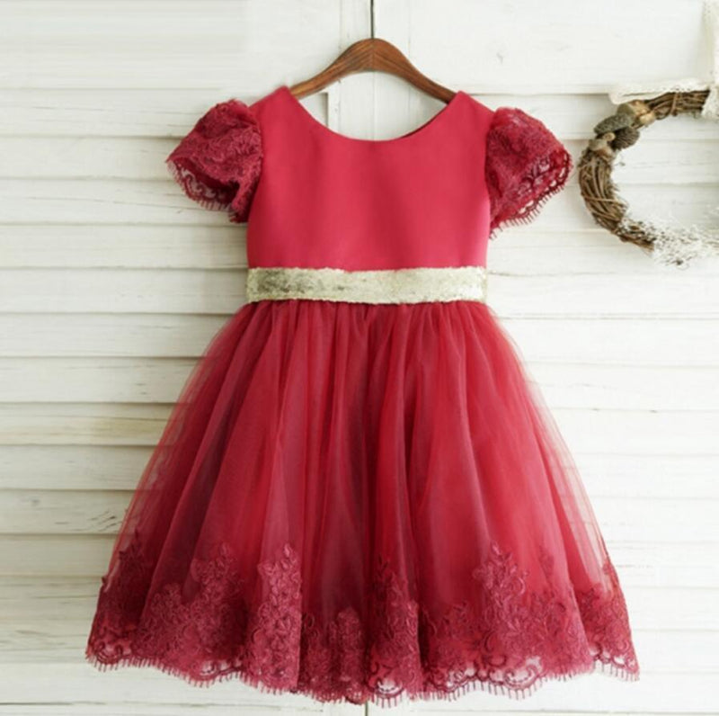 Red round neck Puff Sleeve Cute lace flower girl dress with big Golden bow back, Flower girl dress, FG0100