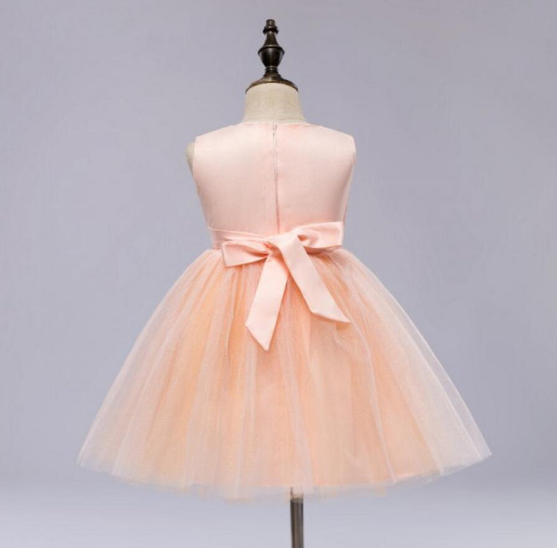 New Arrival Pink Round neck Bowknot Sleeveless tutu, Sweet cute Flower Girl Dress, FG0101