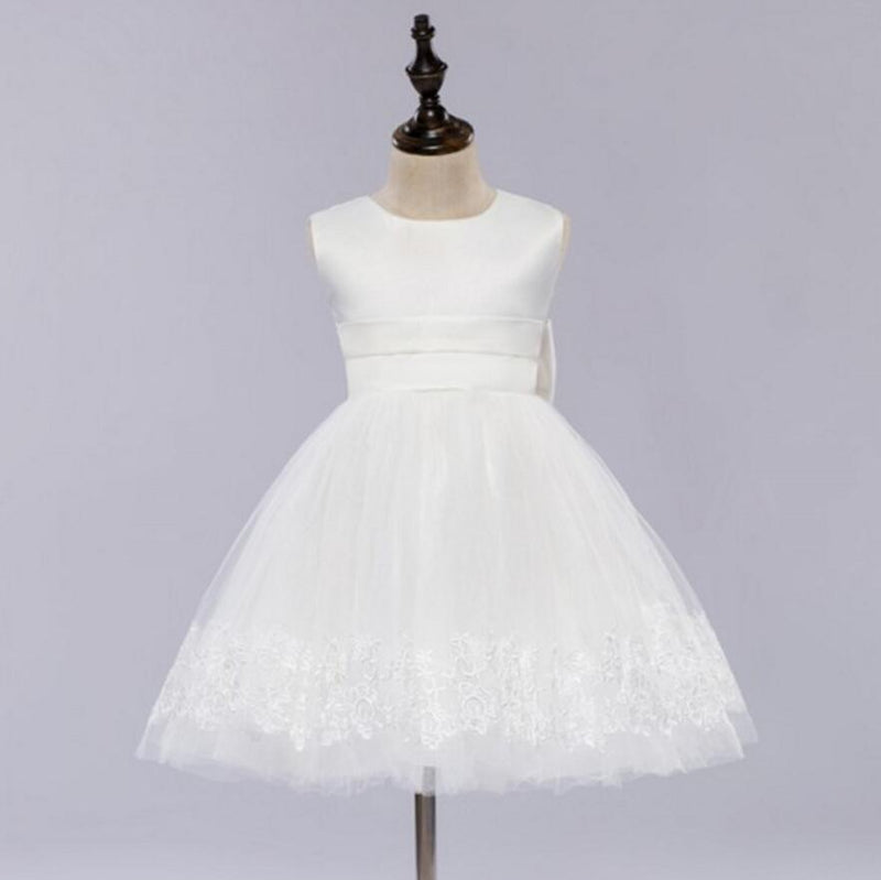 Pure white tutu, round neck,Back with a bow, Back torso button Flower Girl Dress, FG0102