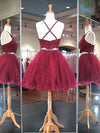 Charming two pieces sleeveless popular backless short/mini prom dresses, homecoming dresses,  HD0333