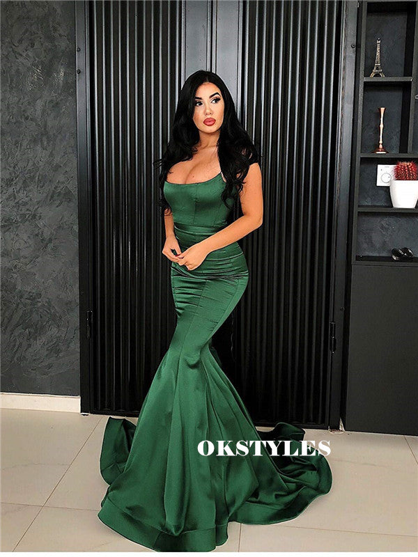 Mermaid Spaghetti Straps Lace-up Back Long Green Prom Dresses, PD0589