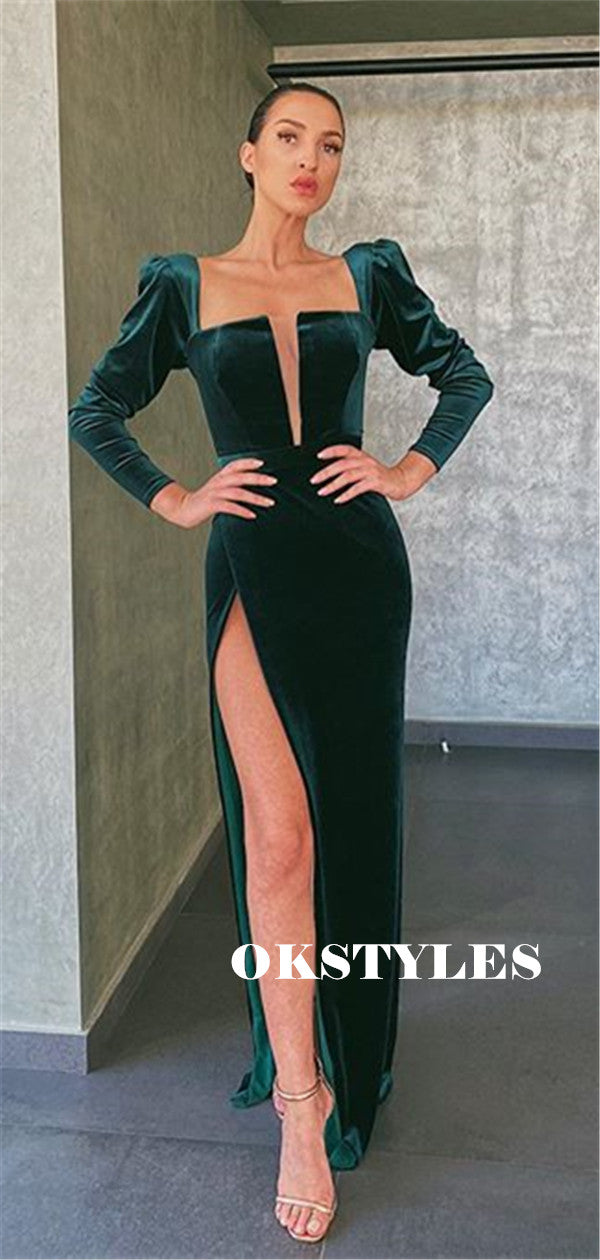 Sheath V-neck Long Sleeves Velvet Prom Dresses With Split, PD0593