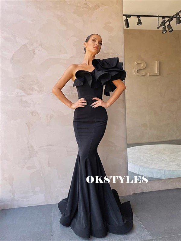 Mermaid One-shoulder Long Black Prom Dresses With Ruffles, PD0592