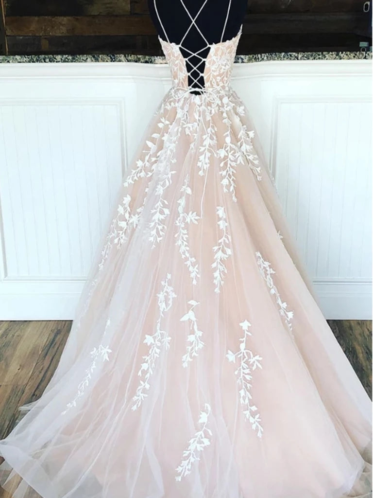 A-line Spaghetti Straps Lace-up Back Long Lace Appliques Prom Dresses, PD0628