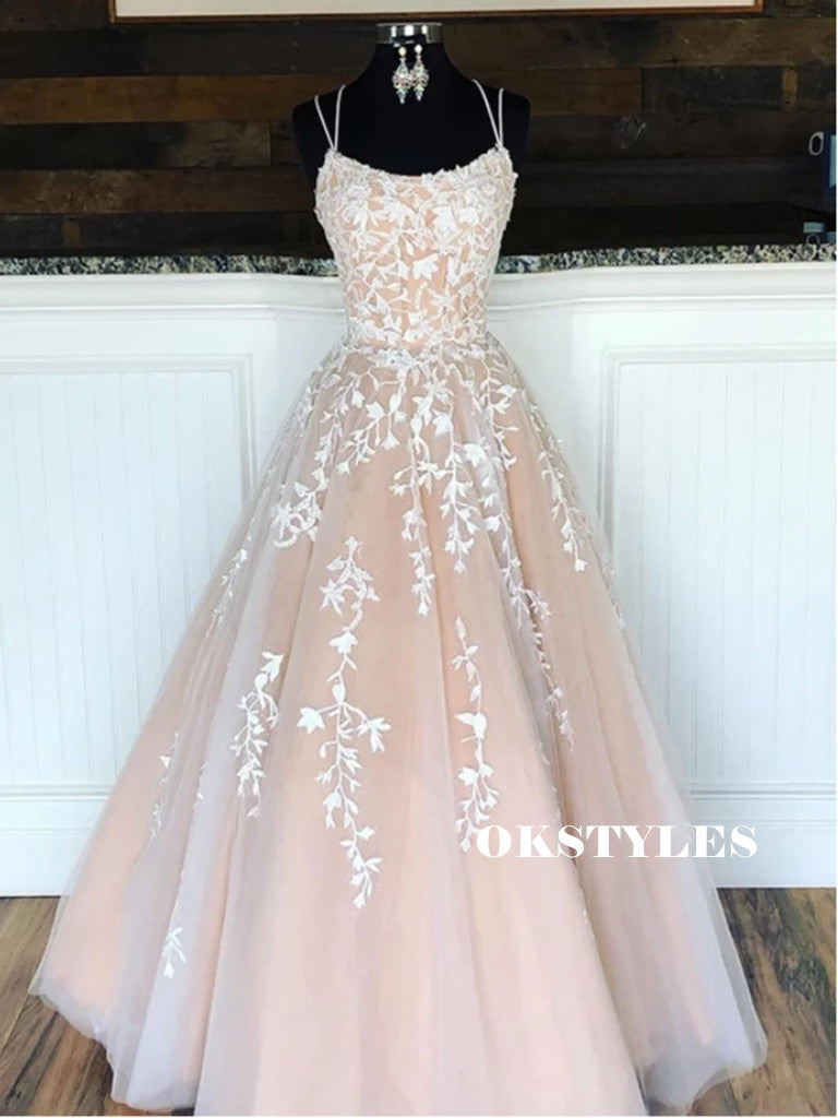 Round Neck V-neck Pink Appliques Open-Back Long tulle Prom Dresses, PD0539