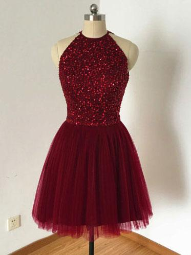 Halter Open-back Burgundy Tulle Sleeveless Short Homecoming dresses, HD0395
