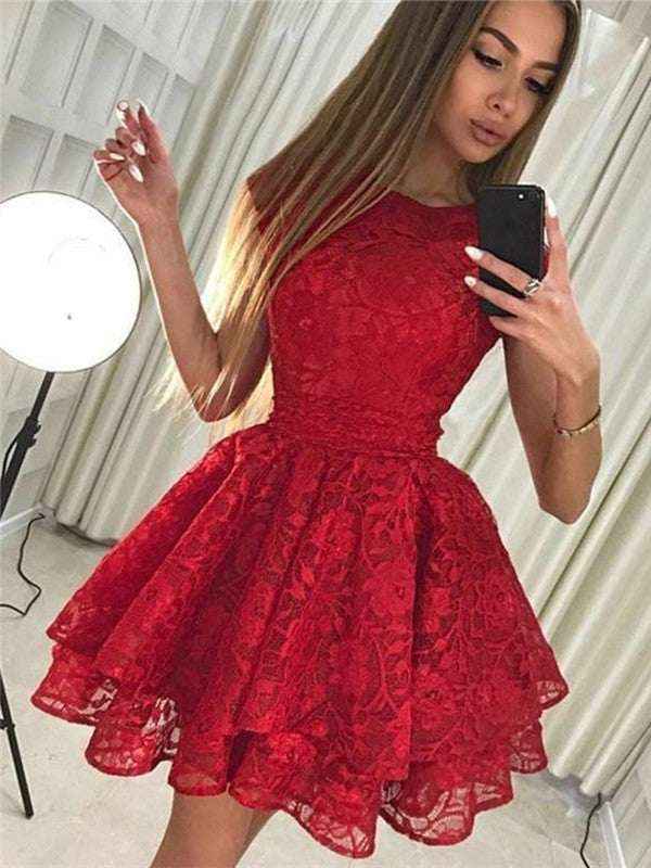 Two-pieces Off-shoulder Lace Top Red Satin Homecoming Dresses, HD0505