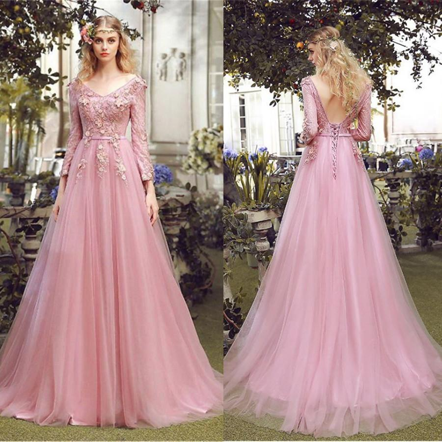 Floor-length A-line V-neck long sleeve evening dress,  Pink lace applique Back strap long prom dresses,PD0517