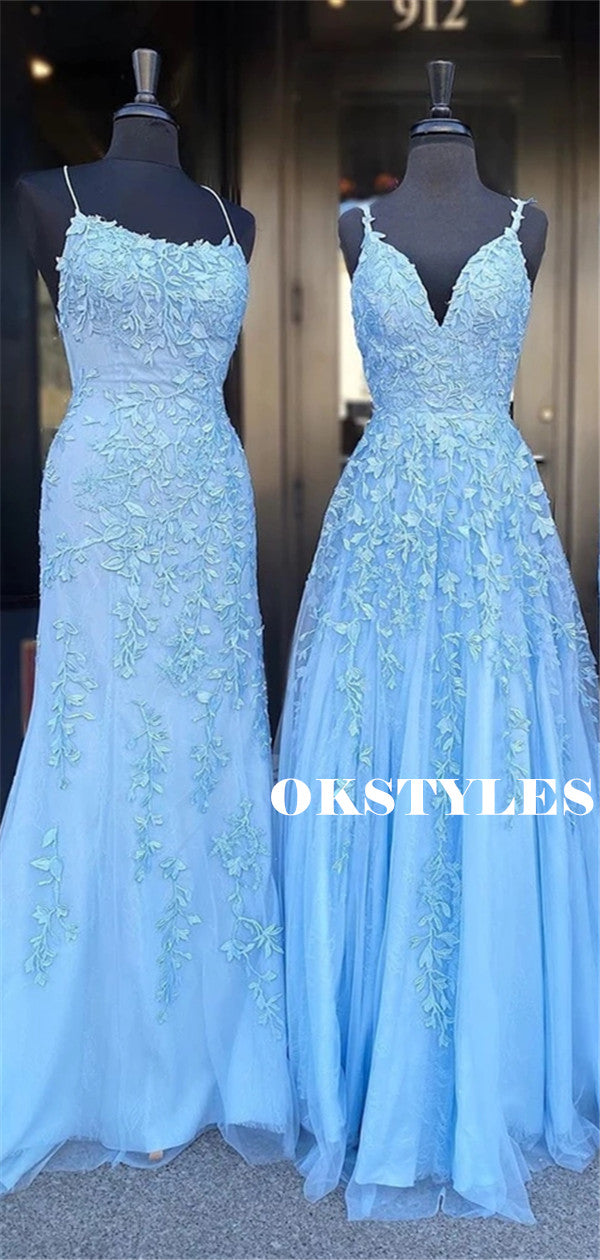 Sheath Spaghetti Straps V-neck Sleeveless Appliques Long Blue Prom Dresses, PD0630