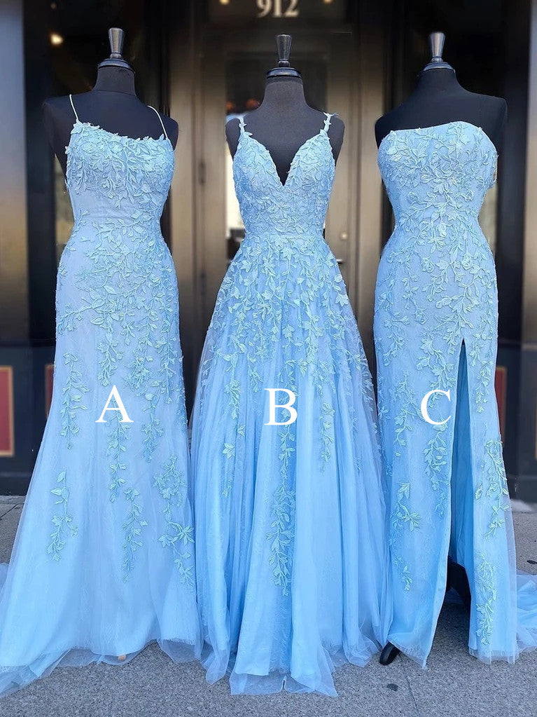 A-line Deep V-neck Beading Long Backless Prom Dress, PD007