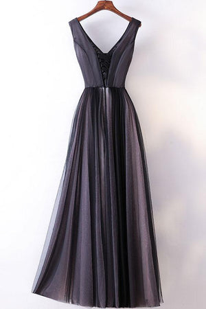 2018 Simple A Line V Neck Dark Grey Simple Cheap Prom Gowns Tulle