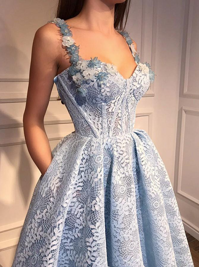 A-line Floor-length Straps Full Lace And Appliques Long Prom Dresses, PD0572
