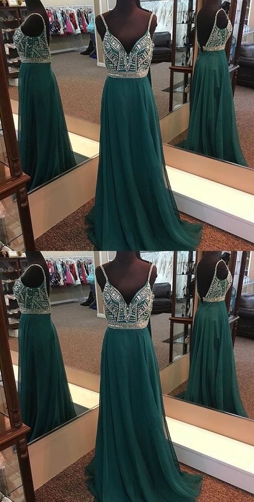 A-line Floor-length  Prom Dresses, Spaghetti Straps Chiffon Long Prom Dresses, PD0520