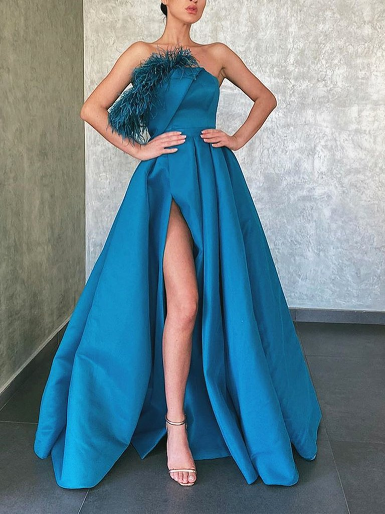 A-line Floor-length Strapless Long Blue Prom Dresses With Split, PD0584