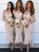 Charming Mermaid Off-Shoulder Long Sleeves Lace Top Bridesmaid Dress, BD0469