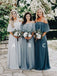 A-line Floor-length Chiffon Off-shoulder Cheap Simple Long Bridesmaid Dress , BD0498