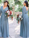 A-line Floor-length V-neck Long Sleeves Chiffon Bridesmaid Dresses, BD0564