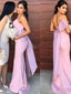 Mermaid Long Spaghetti Straps Bridesmaid Dresses With Bow, BD0554