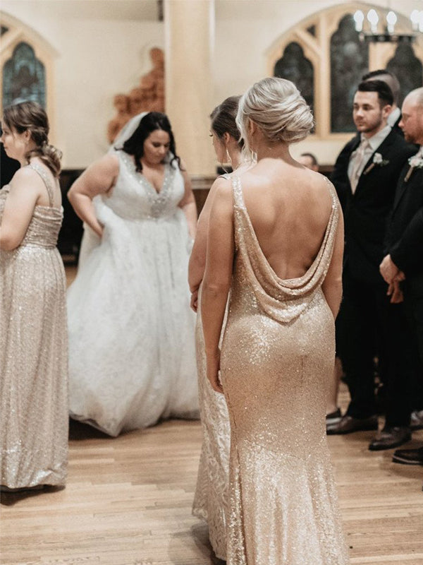 Mermaid Golden Sequins Backless Long Bridesmaid Dresses, BD0581