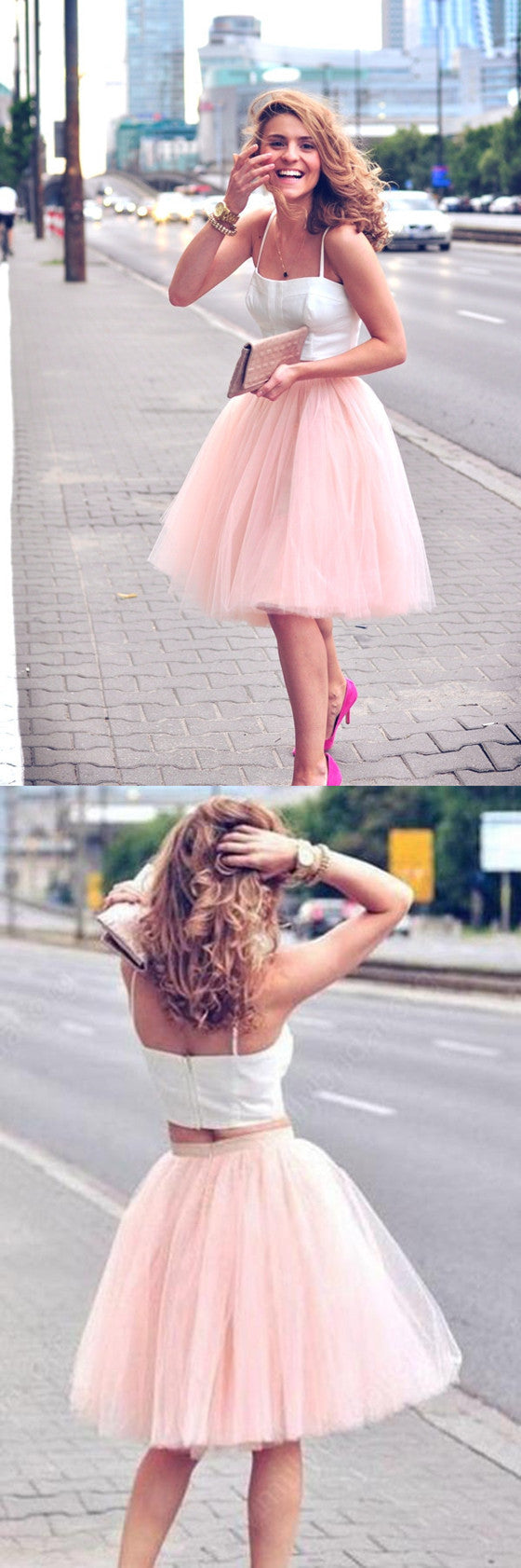 Two Pieces Cheap Spaghetti Straps Pink Tutu tulle Homecoming Dresses, HD0351
