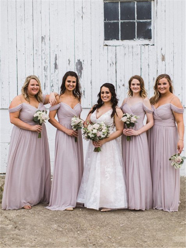 A-line Off-shoulder Long Chiffon Bridesmaid Dresses, BD0587