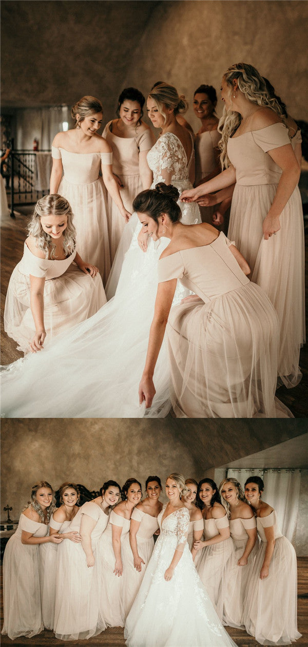 A-line Floor-length Off-shoulder Long Tulle Bridesmaid Dresses, BD0591