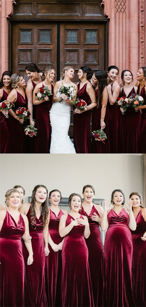 Sheath V-neck Burgundy Velvet Long Cheap Bridesmaid Dresses, BD0592