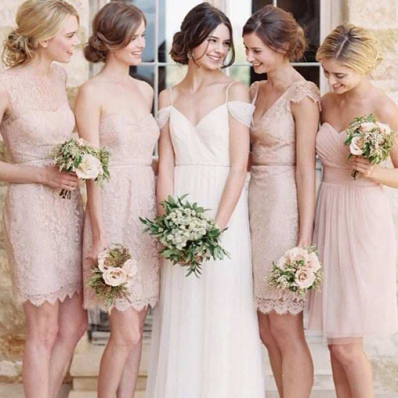 New Arrival lace Cheap short simple bridesmaid dresses, elegant bridesmaid dresses, BD0428