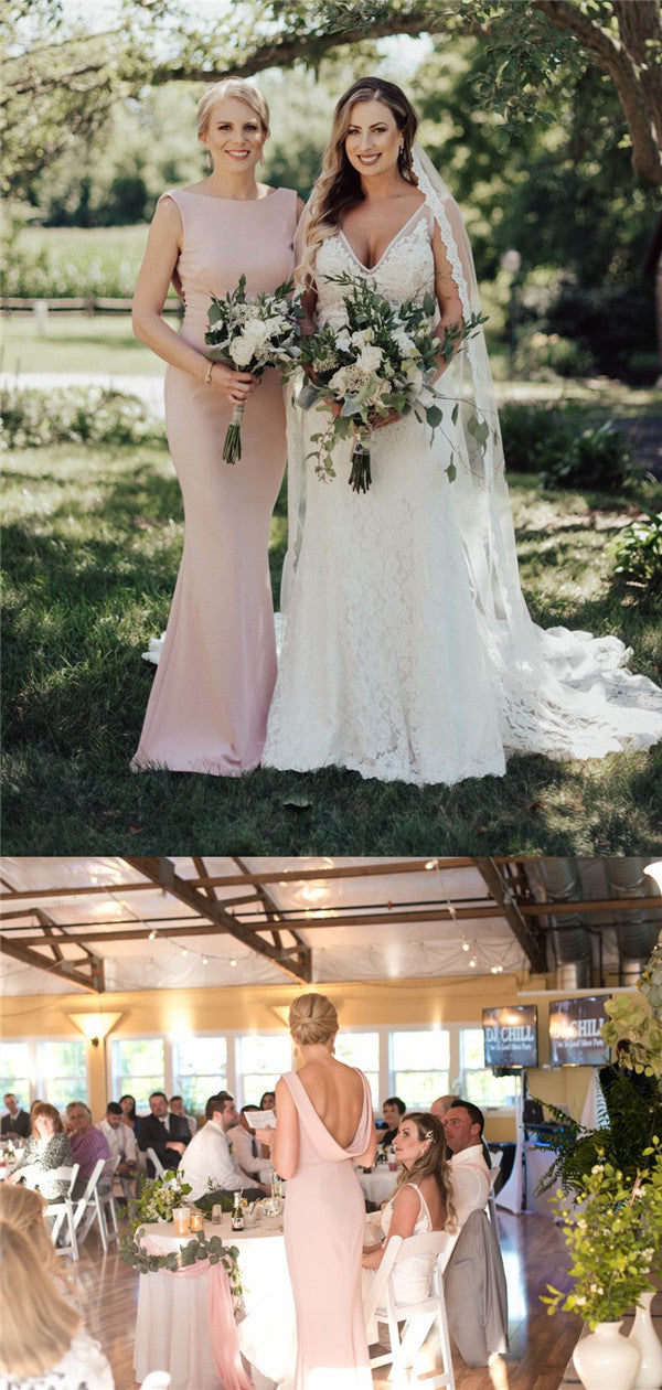Sheath Simple Pink Backless Long Bridesmaid Dresses, BD0586