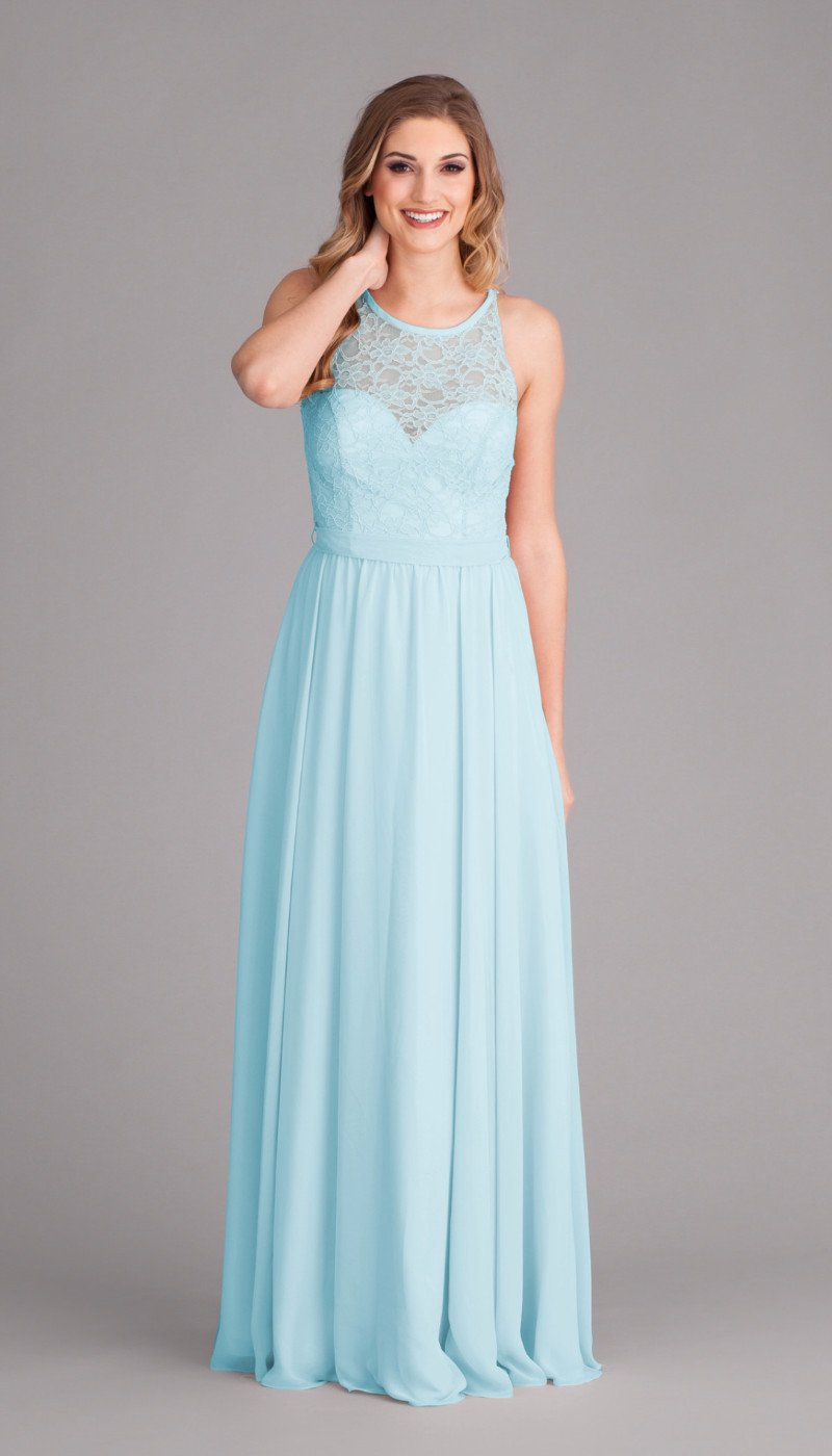 A-Line V-Neck Floor-Length Mint Chiffon Sleeveless Long Bridesmaid Dresses With Lace, BD0505