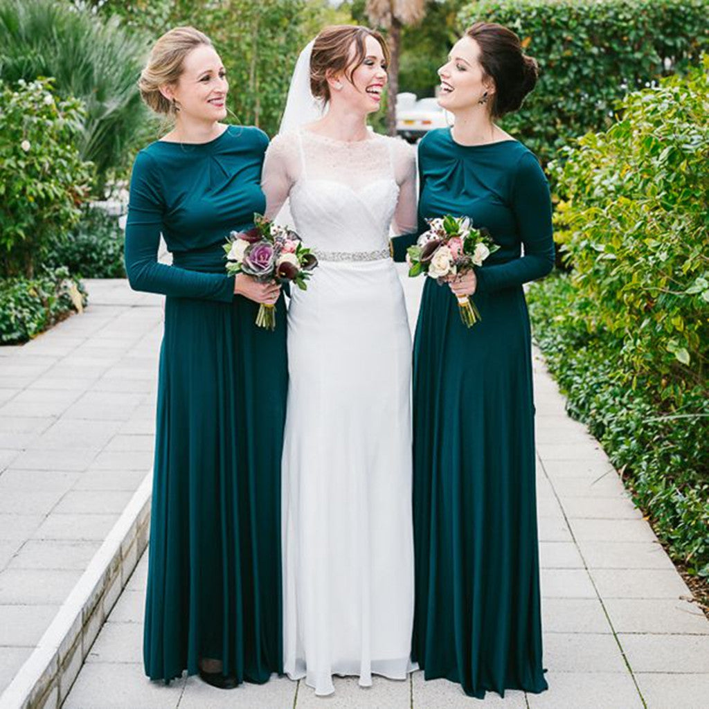 Elegant Long Sleeves Backless Green Bridesmaid Dresses, BD0549