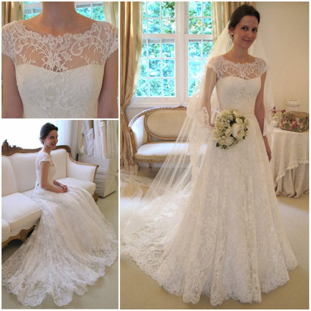 New Arrival Gorgeous Bateau Neck Cap Sleeve Lace Wedding Dresses ...