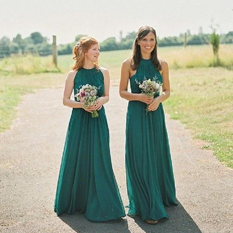 Newest Floor-length sleeveless Green Chiffon Simple Cheap Halter Bridesmaid Dress, BD0471