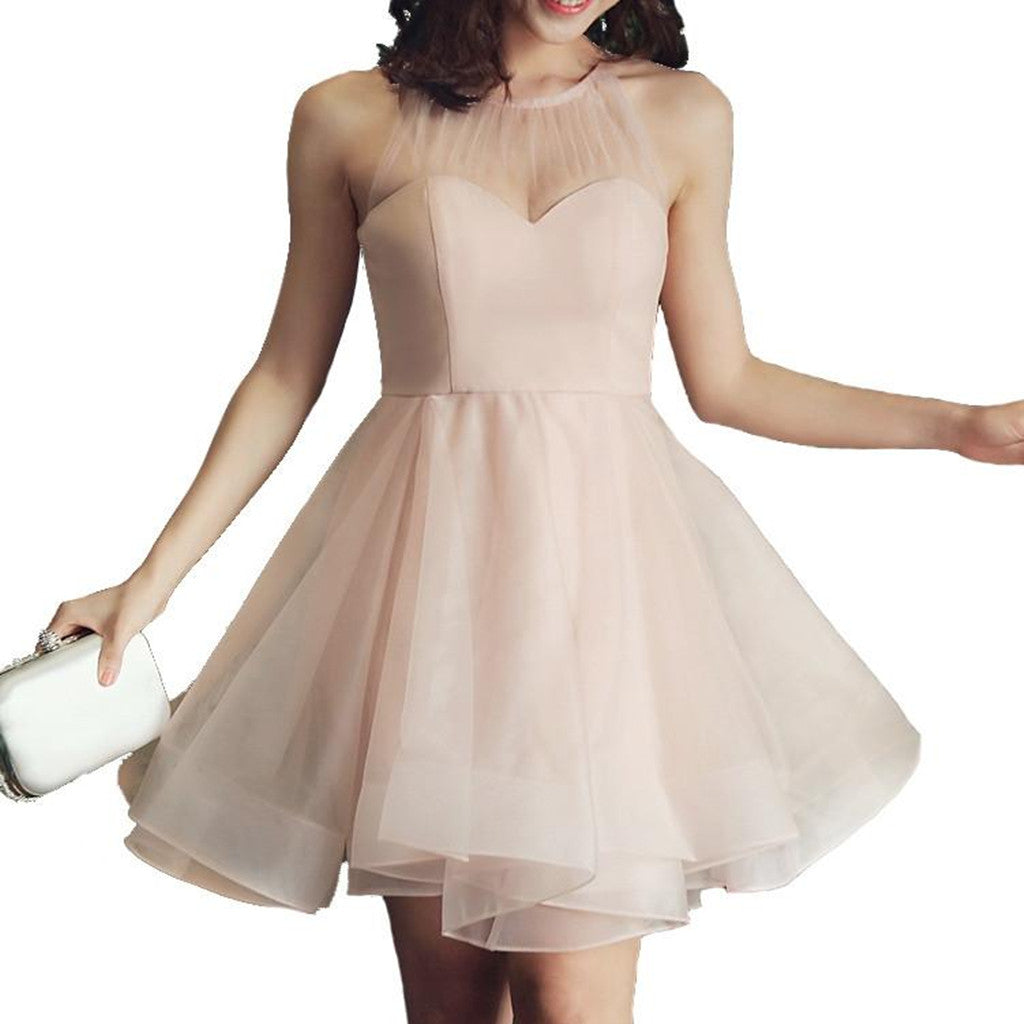 Halter Tulle Top Organza Skirt Sleeveless Zipper Back Pink Short Homecoming Dresses, HD0427