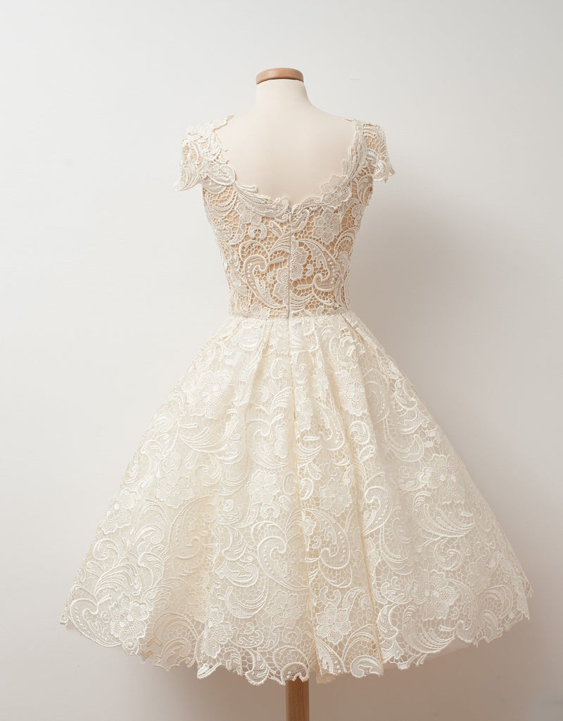Sparkling A-line Ivory Lace Cap Sleeve V-Neck Short Party Dresses, Cute homecoming dresses , HD0322