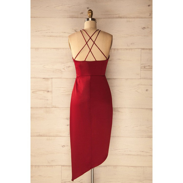 Hot selling Spaghetti Straps V-neck Simple Cheap Red Homecoming Dresses, HD0429