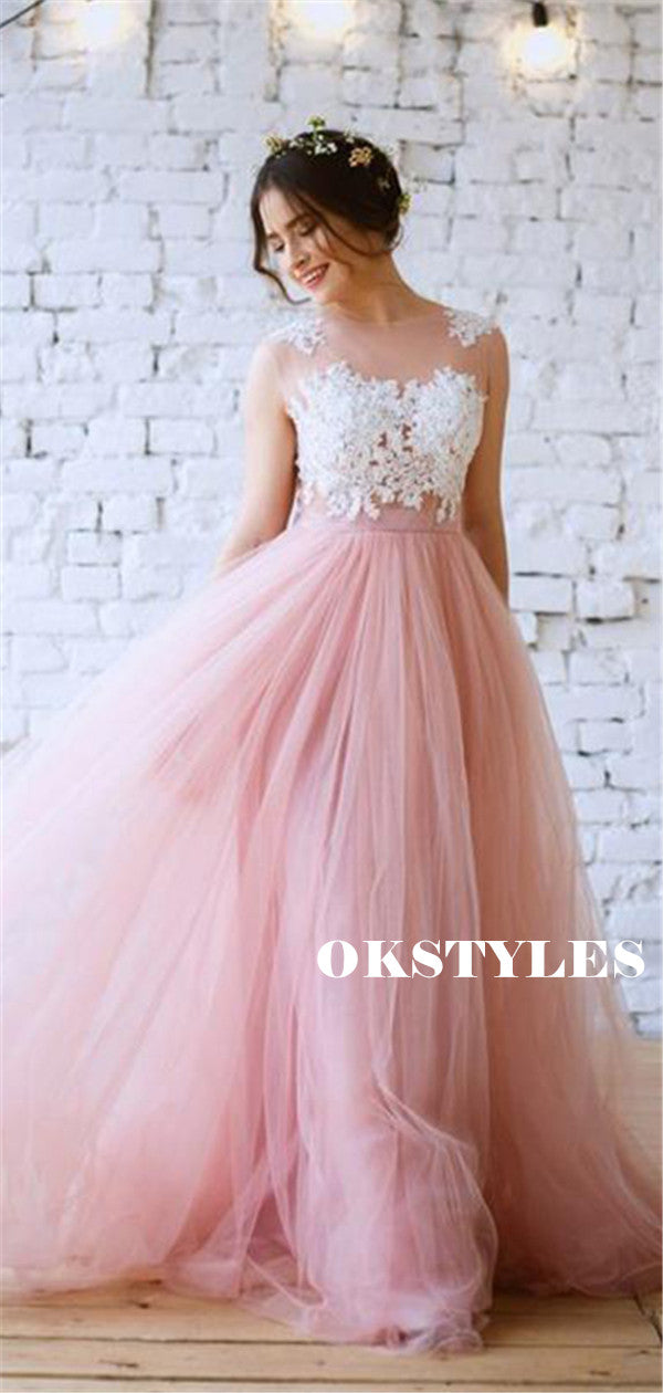 A-line Round Neck Cap Sleeves Lace Long Tulle Prom Dresses, PD0625