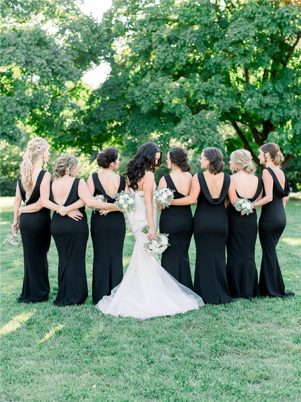Mermaid Sleeveless Backless Simple Black Bridesmaid Dresses, BD0589