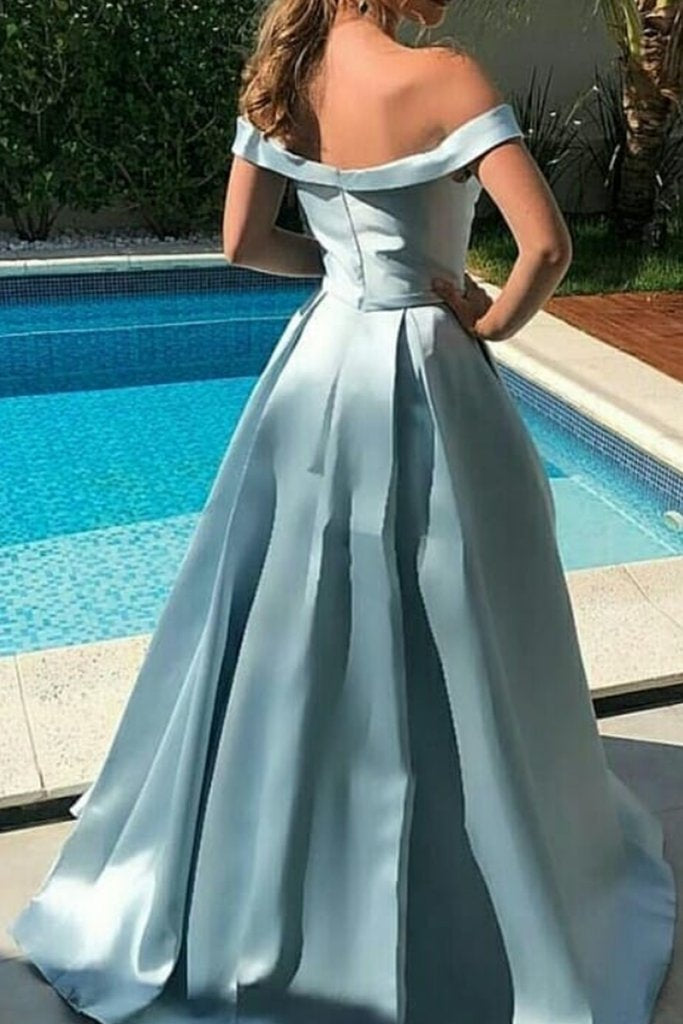 A-line Off-shoulder Simple Elegant Long Sky Blue Prom Dresses, PD0569