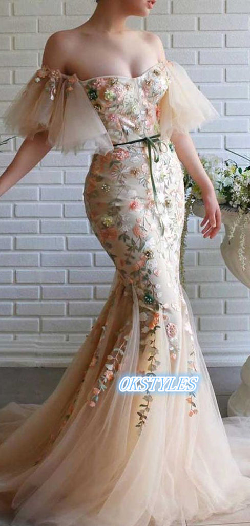 Beautiful Mermaid Strapless Off-shoulder With Applique Prom Dresses, OL033