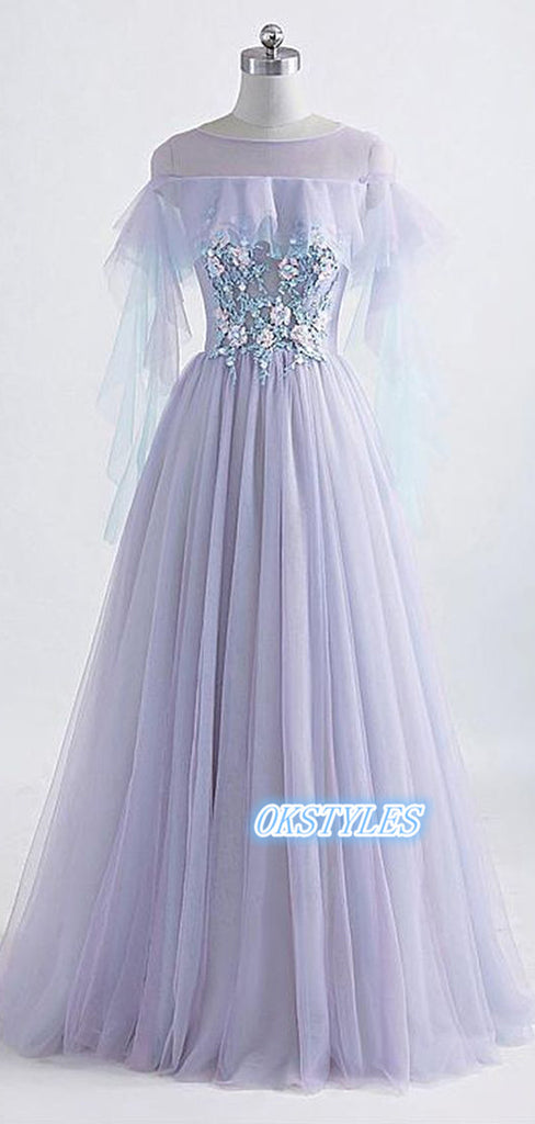 Elegant A-line Tulle Round-neck  With Applique Long Prom Dresses, OL035
