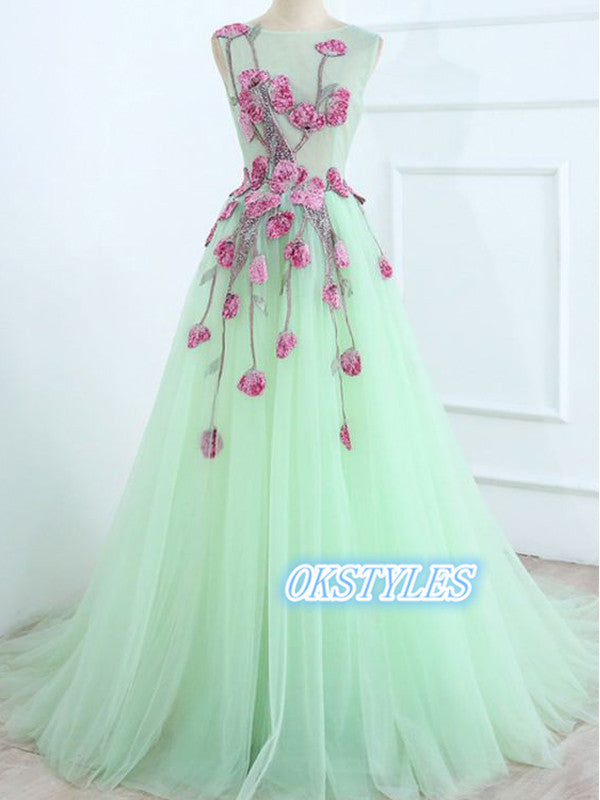 Beautiful A-line Sleevelesss V-back With Applique Long Prom Dresses, OL040